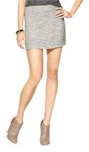 BCBGeneration Mini Bcbg Knit Metallic Mini Skirt Black, White & Silver