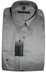 Geoffrey Beene Reg Fit Sz 16.5 Sleeve 32 33 Button Down Shirt GUNMETAL SILVER GRAY