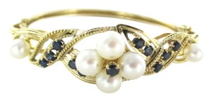 PWC 14K SOLID YELLOW GOLD BRACELET PEARL SAPPHIRE FLOWER VICTORIAN VINTAGE PWC JEWEL