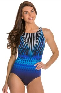 Longitude Longitude One Piece Swimwear Mixed Print One Piece Swimsuit Size 16 NWT