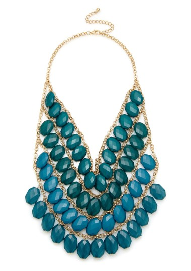 Olivia Welles OLIVIA WELLES Faceted Bead Multi Layer Necklace Green