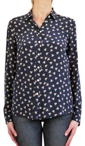 J.Crew Shirt Silk Shirt Top Navy Blue