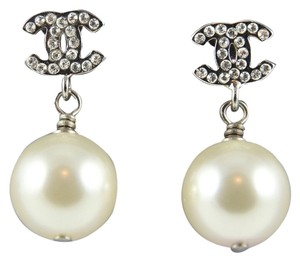 Chanel CHANEL New Crystal CC Pearl Drop Earrings in Gift Box Paris