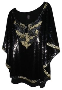 IWC Poncho Sequin Butterfly Holiday New Years Sequin Top Black and Gold