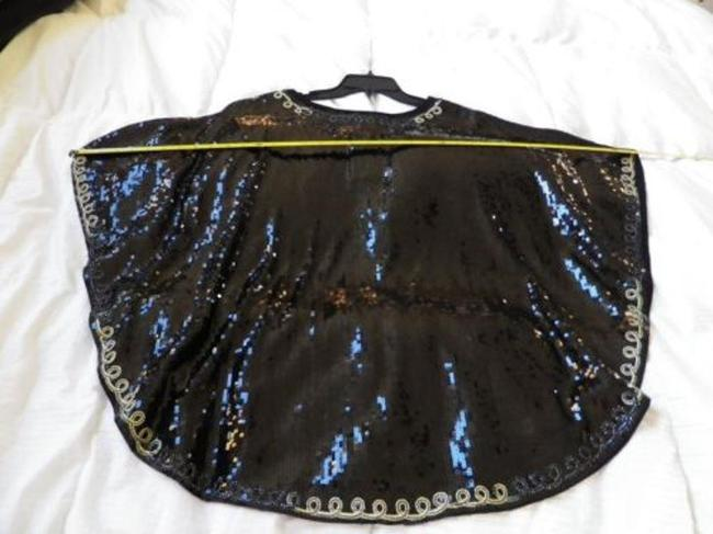 IWC Poncho Sequin Butterfly Holiday New Years Sequin Top Black and Gold Image 3