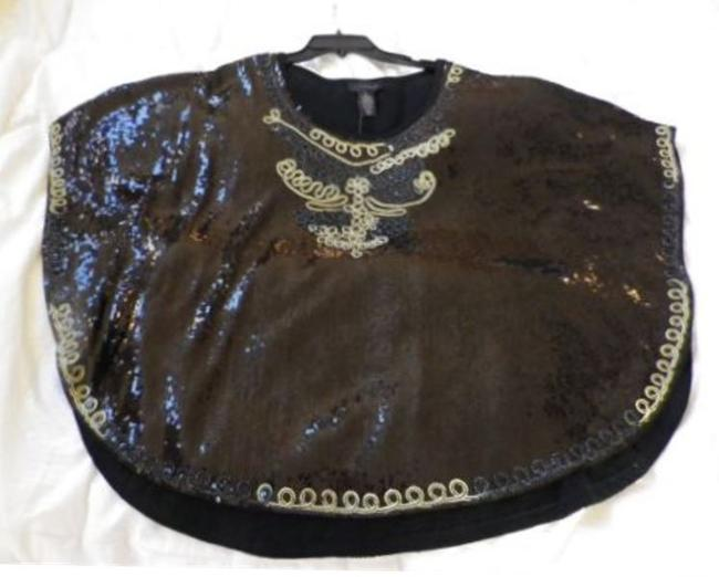 IWC Poncho Sequin Butterfly Holiday New Years Sequin Top Black and Gold Image 7