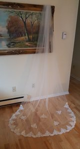Bridal Light Ivory Cathedral Veil With Comb