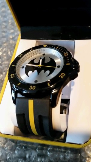 DC Comics BATMAN DC Black, Yellow and Silver Tone Emblem Watch NEW in collectible box Image 1