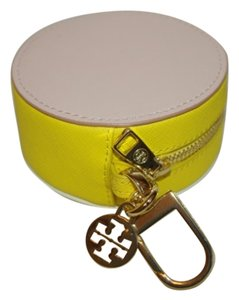 Tory Burch NWT TORY BURCH YORK COLOR BLOCK CIRCLE POUCH PINK YELLOW KEY RING COIN PURSE WALLET