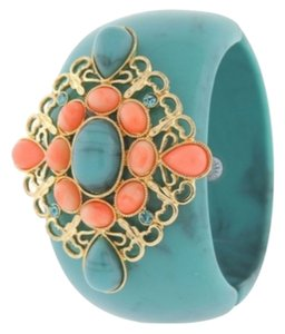 Angelique de Paris Fantasia Turquoise Wide Resin Cuff with Crystal Accents