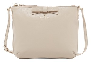 Kate Spade Bow Tenley North Court Clock Tower Leather Pebbled White Beige Purse Handbag Shoulder Cross Body Bag