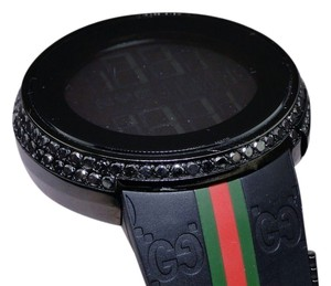 Gucci Mens Custom Digital Gucci I-gucci Row Black Diamond Watch Ya114207