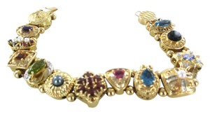 14KT SOLID YELLOW BRACELET SEMI PRECIOUS STONES 44.1 GRAMS MULTI COLOR JEWELRY
