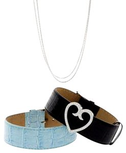 Honora Honora 18K White Gold Diamond Large Heart Slide Pendant & Leather Bracelet Set