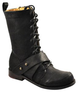 Gee WaWa Edgy Military Laces Buckle Black Boots