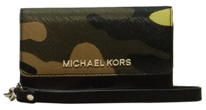 Michael Kors Jet Set Travel Camouflage Saffiano Leather Wristlet