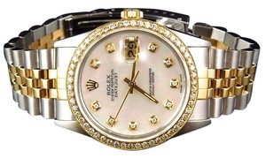 Rolex Datejust Tone 36mm 18k/ Steel White Mop Diamond Watch 2.5 Ct