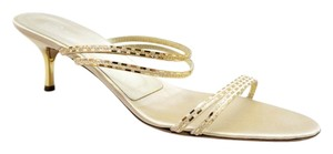 St. John Pailette Alyssa Beige Satin Slide Kitten Heel gold Sandals