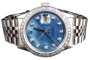 Rolex Mens Rolex Datejust Oyster Stainless Steel Blue Pearl Diamond Watch With 3 Ct