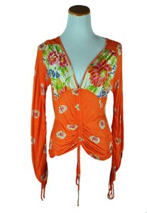 Blumarine Orange Long Sleeve Multicolor Floral Shirt Size 44 Cardigan