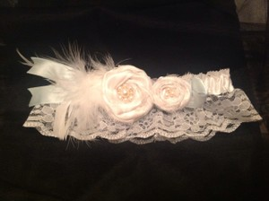 Other Couture Garter Wedding White Baby Blue Accent