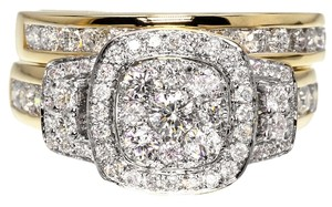 Jewelry Unlimited 14k Yellow Gold Ladies Round Diamond Wedding Engagement Bridal Ring Set 1.50 Ct