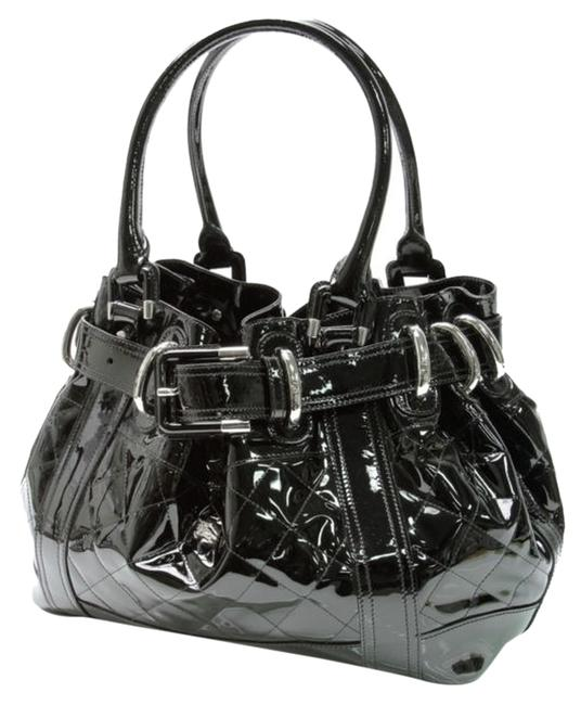 Item - Beaton Black with Silver Hardware Patent Leather Tote