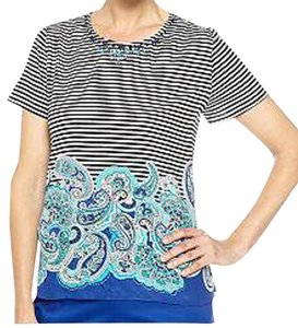 Alfred Dunner Striped Paisley Jewle Neckline Studded Top Multi-Color