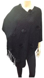 Poncho West Puff Knit Fur Cape