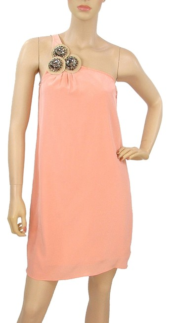 Item - Pink - Blush Silk One Shoulder Above Knee Night Out Dress Size Petite 8 (M)