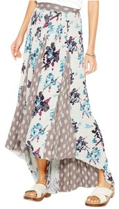 Free People Hi Lo Rayon Print Pleated Maxi Skirt Green