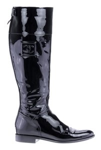 Chanel Sport Patent Leather Tall Black Boots