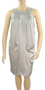 Alberta Ferretti Evening Beaded Silk Pleated Belted Dress