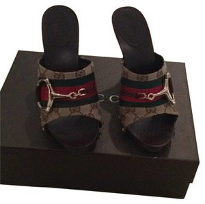 Gucci Brown with red & green accents Mules