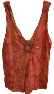 Free People Tie Dye Tank Embroidered Embroider Sleeveless Top Pink