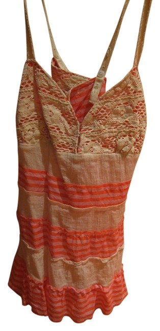 Free People Crochet Stripe Orange Cream Tank Going Out Night Sexy Cleavage Low Cut Top Pink