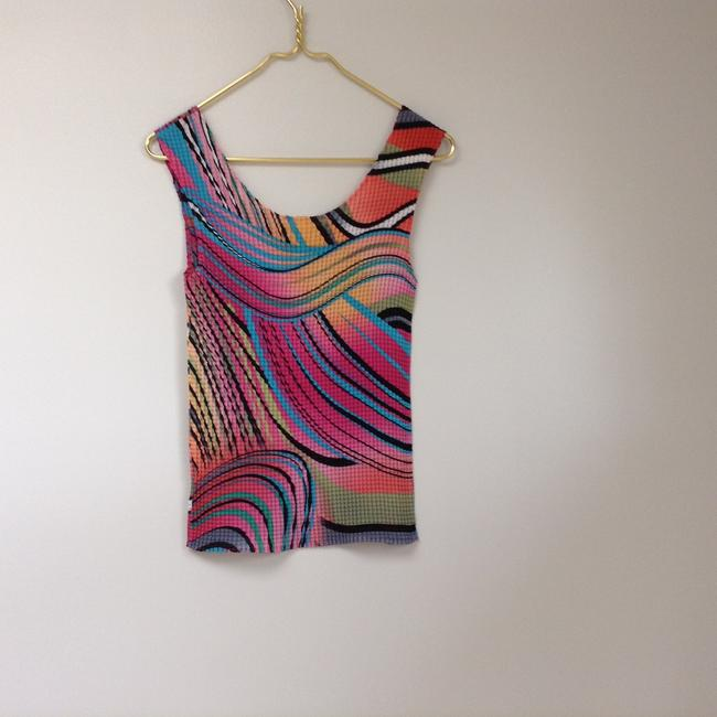 Other Sleeveless S Small Women's Bold Stretchy Art Deco Artsy Decorative Designer Crinkle Polyester Stretch Top Multicolor