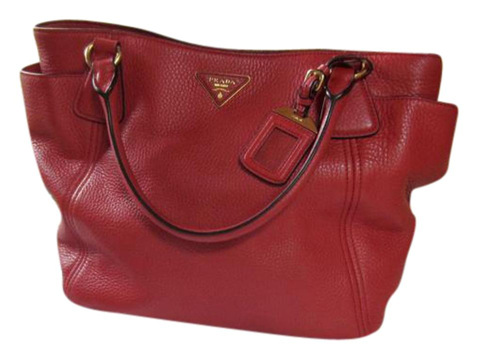 4122fc94c81173 Prada Hobo Vitello Daino Convertible Side Pocket Rosso Sold Out Red ...