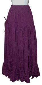 Denim 24/7 Tiered Elastic Boho Maxi Skirt Ripe Boysenberry