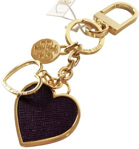 Tory Burch Tory Burch BRAND NEW WITH TAGS TORY BURCH HEART KEY FOB KEYCHAIN GOLD PURPLE IRIS
