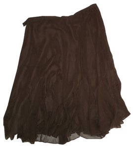 Kate Hill Silk Flowy Skirt Brown