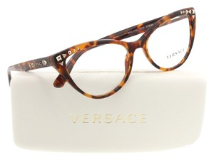 Versace Women's Eyeglasses Cat Eye Optical Frame Tortoise Gold Studs