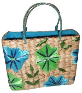 Preview Collection Raffia Natural tote with blue and green detail Beach Bag