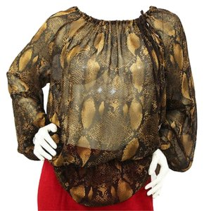 Adrienne Vittadini Animal Print Silk Top BROWN