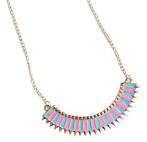 BRAND NEW Pink Blue Sweater Chain Gold Tone Bib Style Art Deco Spike Necklace