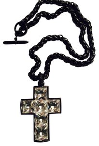 Kenneth Jay Lane Kenneth Jay Lane Thick Chain Crystal Cross Enamel Necklace