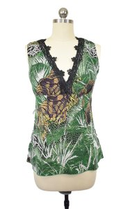 Beth Bowley Leaf Print Abstract Sleeveless Top Green