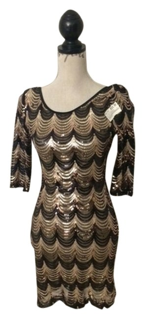 Item - Black and Gold Sequin Short Night Out Dress Size 8 (M)