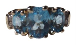 Other 10K Beautiful deep blue Topaz Ring with Diamonds