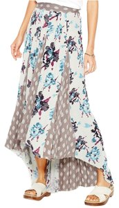 Free People Maxi Pleated Rayon Print Maxi Skirt Green